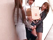 Pretty Asian Office Ladies Are Doing Handjob To Their Colleague