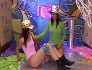 Lesbians Strapless Dildo Leggings And Oiled Ebony Anal Dildo
