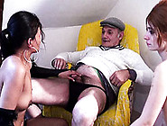 Lesbo Girls Suck Papy'S Dick