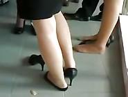 Nylon Feet Legs Shoeplay At Graduation
