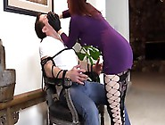 Red-Haired Lady Strangles Her Slave For Fun