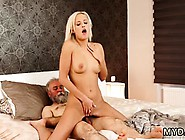 Sexy Blonde Teacher With Big Tits And Bald Guy Fucks Babe