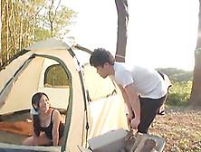 During A Camping Trip Yuri Shirai Gives A Guy Head In Her Tent