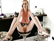 Saggy Tit Blonde Sits On A Kitchen Chair While He Pounds Her Twa