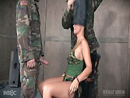 Two Soldiers Fuck Face Of Tied Up Busty Bitch Syren De Mer