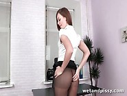 Secretary In Pantyhose Pees On Her Desk