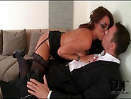Busty Slut In Corset Seduces Business Man