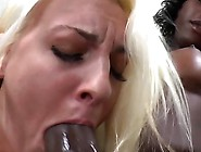 Busty Ebony Shemale Get Cock Sucked By Blonde Beauty