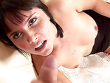 Diane Licks A Guy's Cock And Shows Him Her Shaved Cunt