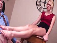 Nerdy Girl Likes Footjob