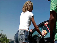 Luscious Chocolate Babe Washes Car In Steamy Outfit
