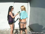 Amateur Girls Flashing For Cash In Money Talks Stunt Outdoors