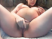 Pregnant Brunette With Saggy Tits Masturbates Like There's No To