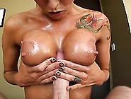 Brunette Bimbo Oils Up Her Massive Fake Tits To Milk A Big Dick
