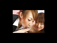 Two Vulgar And Sexy Japanese Dolls Are Sucking Big Cock