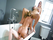 Rebecca More,  Stacey Saran And Jordi Have Fun In The Bathtub