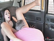 Brunette Gives Footjob In Fake Taxi