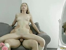 Blonde Babe Takes Cock On The Couch Like A Pro