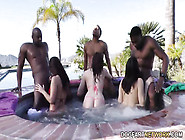 Very Big Interracial Orgy With Three White Harlots