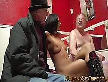 Nubian Hooker Is Picked Up And Fucked By Two Old Guys