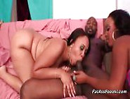 Two Curvy Ebony Sluts Share A Big Black Cock