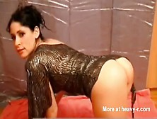 Cute Brunette Smearing Crap On Her Ass