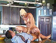 Housewife In A Cocktail Dress Fucks Him On The Kitchen Counter
