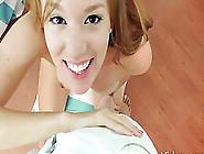 Slim Brunette Cutie Wraps Her Lips Around A Big Black Cock