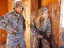 Blonde Babe In Military Uniform Gets Fucked Hardcore By Her Coll