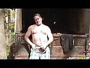 Shorts-Clad Mature Guy Tugging His Small Cock