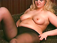 Chubby Blonde Wife In Black Pantyhose Is Gonna Play With A Dildo