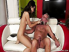 Young Brunette,  Carolina Is Licking An Old Man'S Hairy Butt,  Whi