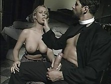 Busty Lady Is Sucking Her Neighbor's Dick While Her Husband