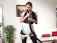 Maid In Nylon Stockings Smashing Her Pussy Using Vacuum Cleaner