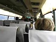 Blonde Girl Plays In Bus