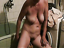 Here Is My Chubby Mature Busty Wife Masturbating In The Bathroom