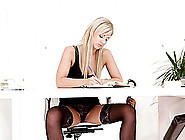 A Leggy Blonde In Lingerie Gets Her Panties Pulled Aside So She