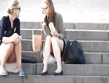 A Hot Blonde Sitting Upskirt Taking Selfie