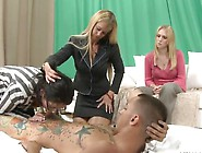 3 Milfs Shaving And Dicklicking The Horn Inside Cfnm Foursome