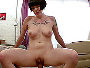 Sassy Cowgirl With Big Tits Getting Her Shaved Pussy Nailed In A