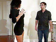 She Drops To The Floor Gives Him A Blowjob And Swallows His Cum