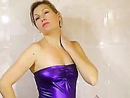 Shower Scene In Purple Wetlook Mini Dress
