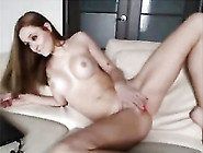 Horny Skinny Babe On The Webcam Stripteasing And Rubbing Her Cun
