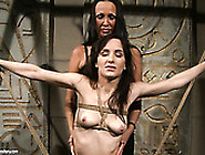 Skinny Brunette Chic Gets Bandaged Tied By Voracious Mistress