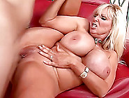Blonde Mom,  Tia Gunn,  Shows Her Huge Fake Boobs And Rides A Cock