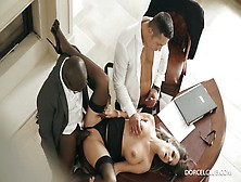 Interracial Threesome In The Office With Cara