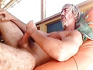 Scruffy Mature Guy Tugging His Huge Prick