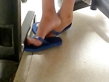 Sexy Voyeur Feet In Blue Flip Flops Getting Naughty At The Offic