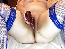 Wife In Blue Stockings Masturbates