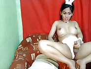 Small Filipino Ladyboy With Huge Tits Is Trying To Get Hard